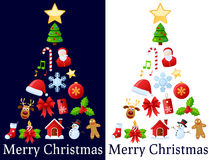 Christmas Icons Tree. A Christmas tree made up of colorful icon ornaments, isolated on dark and white background. Useful also as greeting card. Eps file royalty free illustration