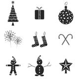 9 Christmas icons. Vector illustration. Black and white Royalty Free Illustration