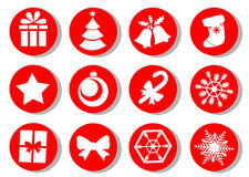 Christmas icons. Vector set of Christmas attributes.  Royalty Free Stock Images