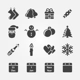 Christmas icons vector set Royalty Free Stock Photography