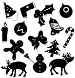 Christmas icons vector silhouettes Royalty Free Stock Photos