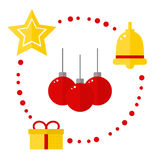 Christmas icons on white background. Royalty Free Stock Image