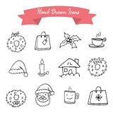 Christmas Icons with White Background. Vector illustration Stock Photos