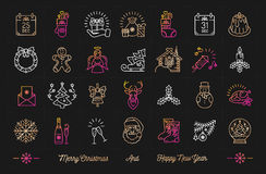 Christmas icons Winter holiday set, Happy New Year decoration symbols Royalty Free Stock Image