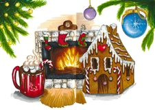 Christmas illistration with gingerbread, fireplace Stock Photo