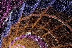 Christmas illumination color with the lights in the tunnel Royalty Free Stock Image