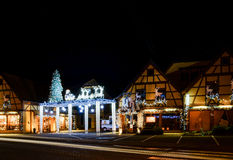 Christmas illumination and decoration of typical french house Stock Photos