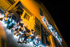 Christmas illumination and decoration of typical french house Royalty Free Stock Image
