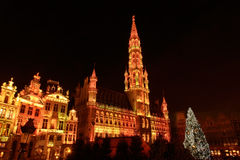 Christmas illumination of Grand Place in Brussels Royalty Free Stock Images