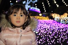 Christmas illumination and Japanese girl. 3 years old Stock Image