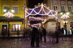 Christmas Illumination in the Old Town of Warsaw Stock Images