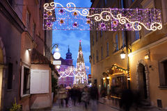 Christmas Illumination on Piwna Street in Warsaw Stock Image