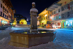Christmas illumination in the snowy streets of Gruyere Stock Photography