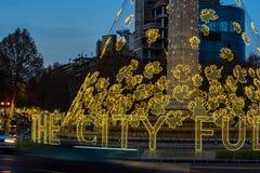 Christmas illumination in Tbilisi, Georgia. Georgia - Tbilisi. Christmas and New 2019 year illumination on the main Freedom (Tavisuplebis moedani) square of stock photography