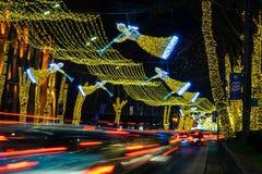 Christmas illumination in Tbilisi, Georgia. Georgia - Tbilisi. Christmas and New 2019 year illumination on the main Freedom (Tavisuplebis moedani) square of stock images