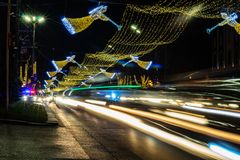 Christmas illumination in Tbilisi, Georgia. Georgia - Tbilisi. Christmas and New 2019 year illumination on the main Freedom (Tavisuplebis moedani) square of stock photo