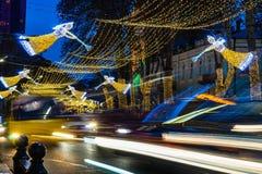 Christmas illumination in Tbilisi, Georgia. Georgia - Tbilisi. Christmas and New 2019 year illumination on the main  street of Tbilisi Rustaveli avenue. 28.12 stock image