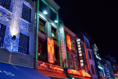 Christmas illumination of Vismet square in Brussels Royalty Free Stock Photography