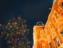 Christmas illuminations and decorations of Christmas and New Year in Moscow, Russia. Red Square stock photography
