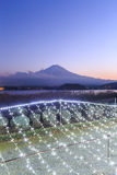 Christmas Illuminations and Fuji Mountains Royalty Free Stock Photos