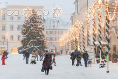 Christmas Illuminations in a Medieval Town Square  Stock Photography