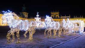 Christmas illuminations in the park in Wilanow. Warsaw Royalty Free Stock Photos