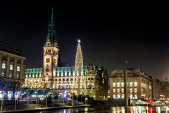 Christmas illuminations at square before Rathaus in Hamburg Stock Photo
