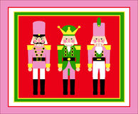Christmas  illustrated nutcracker soldiers fun childrens illustration pink and red Royalty Free Stock Images