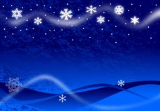 Christmas Illustration. Of glowing snowflakes and stars with abstract snow drifts and blowing snow on blue Stock Image