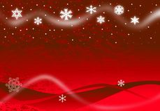 Christmas Illustration. Of glowing snowflakes and stars with abstract snow drifts and blowing snow on red Royalty Free Stock Photography