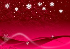 Christmas Illustration. Of glowing snowflakes and stars with abstract snow drifts and blowing snow on red Stock Image