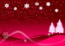 Christmas Illustration. Of glowing snowflakes, Christmas trees, and stars with abstract snow drifts and blowing snow on red Stock Photography