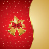 Christmas illustration. With golden hand bells Royalty Free Stock Images
