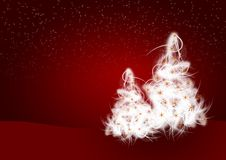 Christmas illustration. White fluffy Christmas trees on red background royalty free illustration