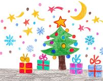 Christmas illustration. Colorful drawing made with pencils royalty free illustration