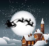 Christmas Illustration. Of Santa and his reindeer on full moon background with snowy town Stock Photo