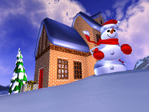 Christmas illustration. Christmas time in the mountains Royalty Free Illustration