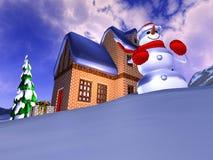 Christmas illustration. Illustration of the christmas time in the mountains Stock Illustration