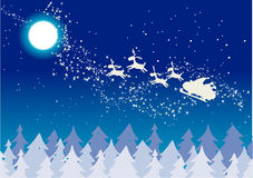 Christmas Illustration. With Santa flying across the sky Royalty Free Stock Image