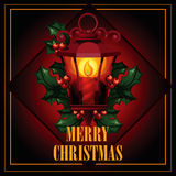 Christmas illustration of antique street lantern Stock Photo