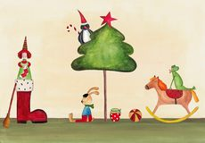 Christmas illustration. Artwork, ink and watercolors on paper Stock Image