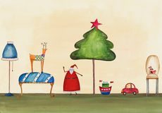 Christmas illustration. Artwork, ink and watercolors on paper Royalty Free Stock Photo