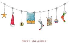 Christmas illustration. Artwork, ink and watercolors on paper Royalty Free Stock Photos