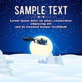 Christmas background with flying Santa sleigh Royalty Free Stock Photo