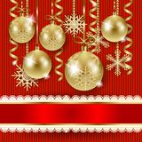 Christmas illustration with baubles on knitted background Royalty Free Stock Photos