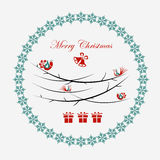 Christmas illustration with bird Royalty Free Stock Photo