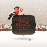 Christmas illustration with bullfinch Stock Images