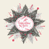 Christmas illustration with calligraphic text and tree. Royalty Free Stock Photos