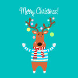 Christmas illustration of cartoon reindeer. Vector Royalty Free Stock Photos