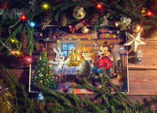 Christmas Illustration with children's characters. Stock Image
